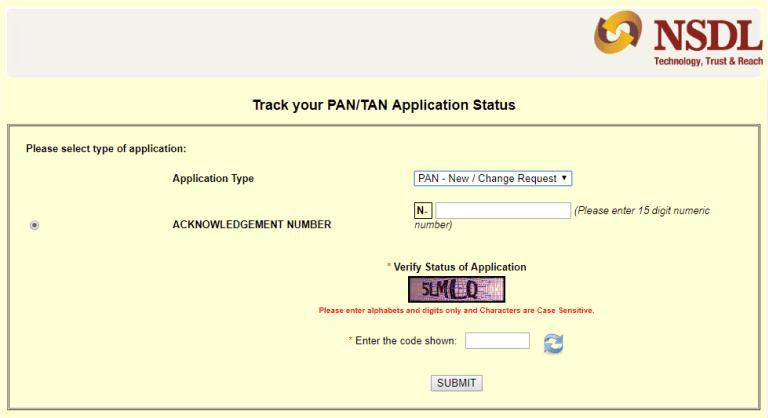 pan status check by nsdl